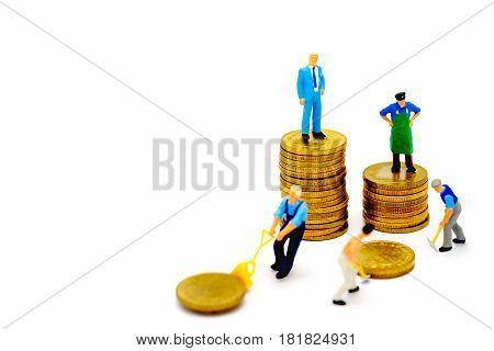 Business cartoon characters standing on coins stacks business concep and Isolated on white background . Miniature people standing on coins stacks Businessman standing on coins stacks Investment concept.
