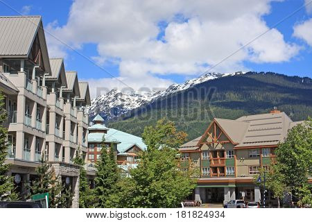 Street in Whistler village in British Columbia