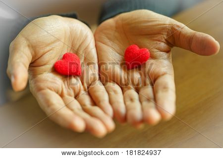 Female hands giving two red hearts selective focus .