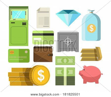 Money preserved in coin and bill cash, plastic card, precious paper, pig moneybox, safe deposit box, ATM and wallet. Vector poster in flat design of colorful icons relating to banking system on white.