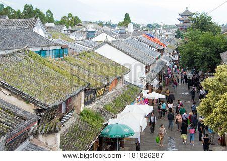DALI CHINA - Aug 31 2014: Dali Old Town. a famous landmark in the Ancient city of Dali Yunnan China.
