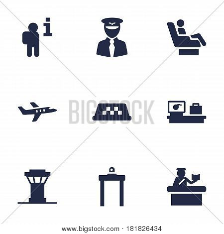 Set Of 9 Airplane Icons Set.Collection Of Aircraft, Security, Rectifier And Other Elements.