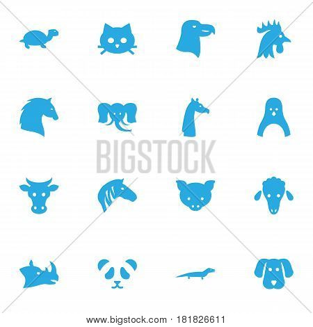Set Of 16 Beast Icons Set.Collection Of Bishop, Kine, Steed And Other Elements.