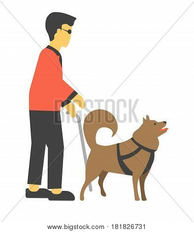 Disabled human handicapped with canine helpmates, sightless man with puppy helper in flat design cartoon style. Blind person with dog vector illustration isolated on white. Blindness concept