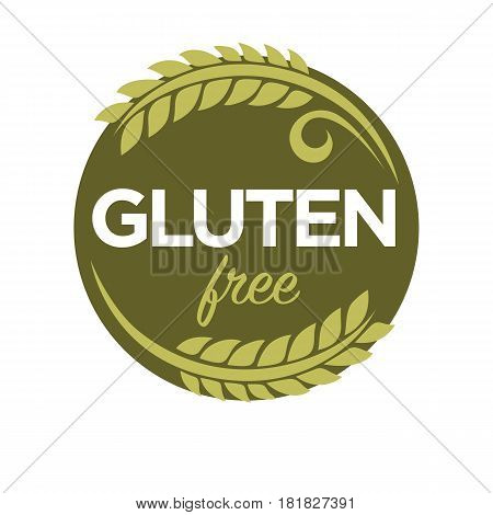 Gluten free substance in cereal grains, especially wheat, responsible for elastic texture of dough. Mixture of proteins, causes illness in people with celiac disease. Vector logo design in flat style