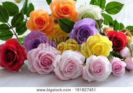 Clay Art, Colorful Roses Flower