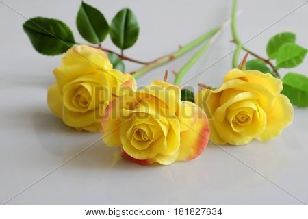 Clay Yellow Roses Flower On White Background