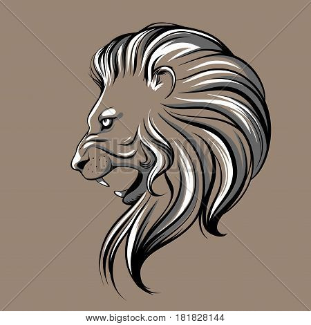 Vector lion head illustration on a brown background