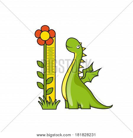 Cute little dragon with height measuring scale