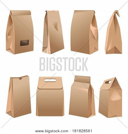 Takeaway paper bags collections on white. Vector poster in realistic design of containers made of carton for carrying goods and food products. Eco brown packages banner in flat design cartoon style
