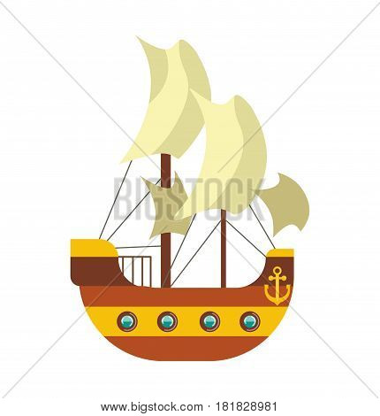 Pirates ship with sail canvas, deck and anchor at stern of boat vector illustration isolated on white. Ancient transportation vessel, dangerous adventures concept. Maritime voyage in flat style design