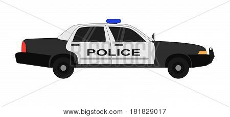 Police car realistic vector illustration isolated on white background. Policeman transportation automobile in black and whitey colors. Modern security sedan truck with headlight flash in flat style