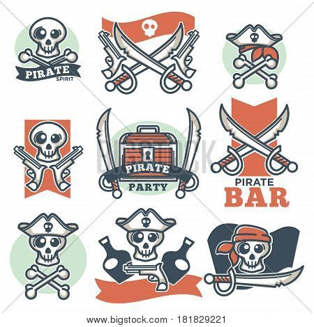 Pirate spirit colorful logo emblems vector poster on white. Badges with skulls wearing hats or bandanas, with crossed knives and sharp swords, treasure box, pistol weapons and bottles with alcohol.