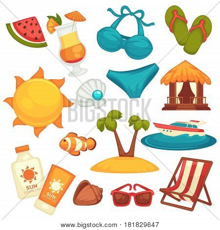 Summer holiday equipments, clothes and shoes poster on white. Vector colorful collection of necessary attributes and transportation mean for relaxation on tropical beach. Vacation template banner