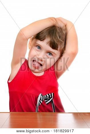 Small Girl make a Funny Face on the White Background