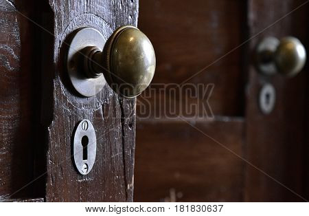 The sight of the knob and keyhole of the old wooden door in the room