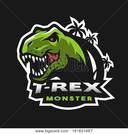 Dinosaur head logo emblem. T-rex monster. Vector illustration.