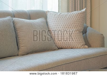 Comfy Sofa With Pillows In Living Room
