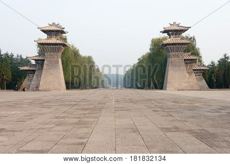 Luoyang, China - Nov 21 2014: Tomb Of Emperor Guangwu Of Han. A Famous Historic Site In Luoyang, Hen