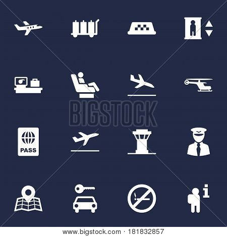 Set Of 16 Aircraft Icons Set.Collection Of Forbidden, Letdown, Transporter Car And Other Elements.