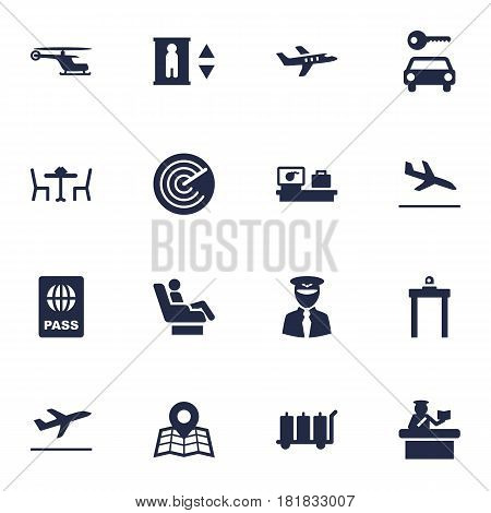 Set Of 16 Airplane Icons Set.Collection Of Chopper, Rectifier, Radiolocator And Other Elements.