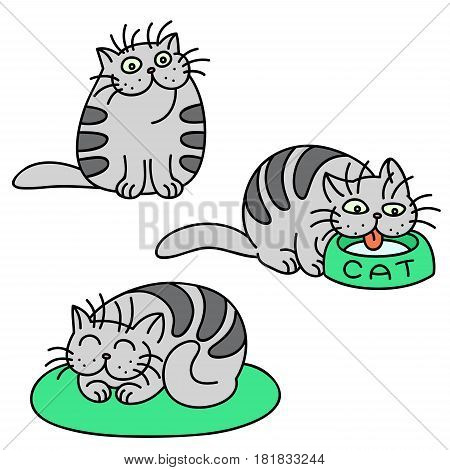 Grey Cats Emoticons Set. Funny Cartoon Cool Character. Contour Freehand Digital Drawing Cute Pet. Cheerful Kitten Collection for Web Icons and Shirt. Isolated Vector Illustration.