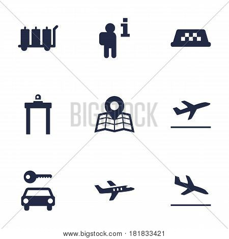 Set Of 9 Aircraft Icons Set.Collection Of Leaving, Aircraft, Rectifier And Other Elements.