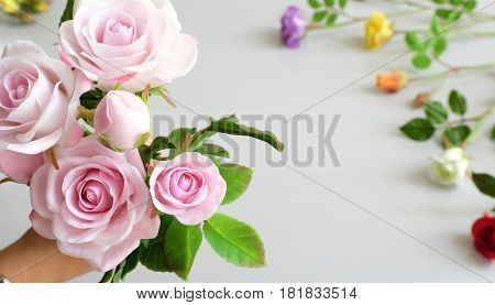 Clay Art, Bouquet Of Roses Flower