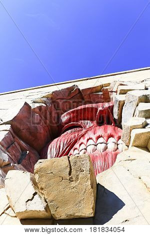 Osaka, Japan - Feb 12 2016:Attack on Titan at Universal Studios japan,The Wall Titans from Shingeki no Kyojin