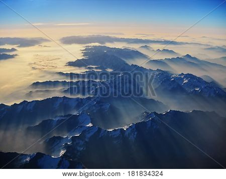 Photo landscape of the French Alps from the Plane