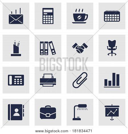 Set Of 16 Bureau Icons Set.Collection Of Diplomat, Address Book, Mail And Other Elements.