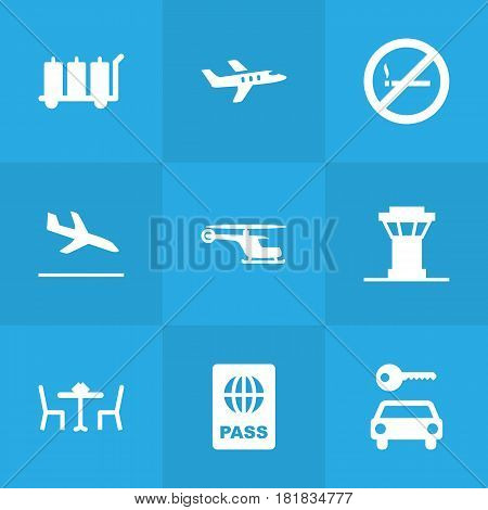 Set Of 9 Aircraft Icons Set.Collection Of Hire, Carriage, Aircraft And Other Elements.