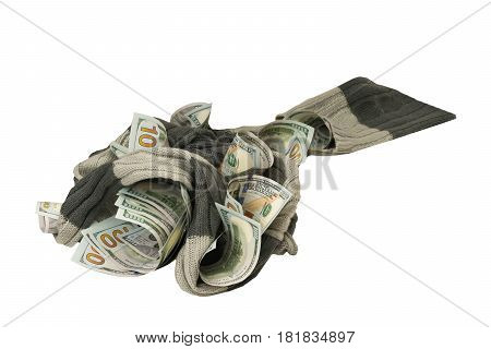 dollars entangled in a soft scarf on a white background
