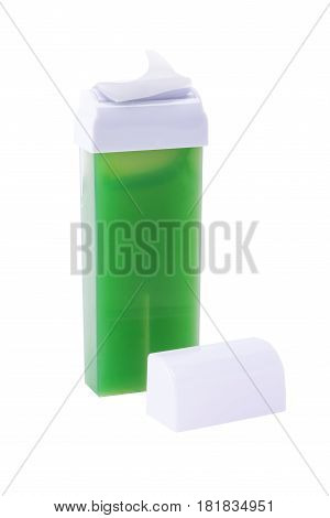 Cartridge with green wax for hair removal isolated on white background