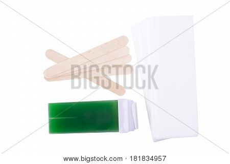 Set of strips and wax for depilation concept isolated on white background