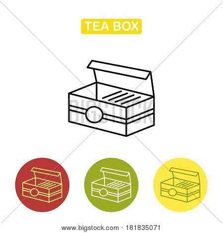 Tea box with tea bag line icon. Outline Logo illustration. Trendy vector Illustration isolated for graphic and web design.