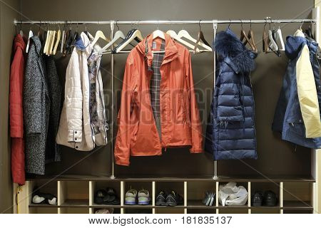 clothes in a cloakroom