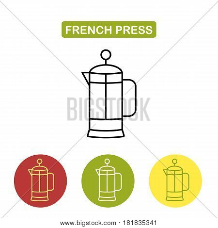 French press for coffee or tea. Glass teapot coffee tea pot French Press minimalistic linear icon. Outline style image. Trendy vector Illustration isolated for graphic and web design.