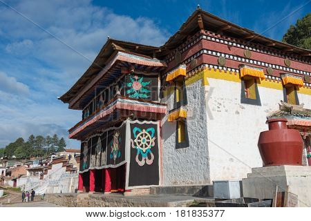 Langmusi, China - Sep 25 2014: Relief At Sertri Gompa (dacanglangmu Saichisi). A Famous Lamasery In