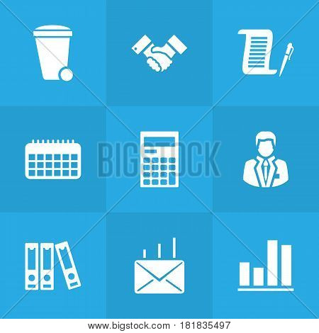 Set Of 9 Service Icons Set.Collection Of Diagram, Handshake, Contract Elements.