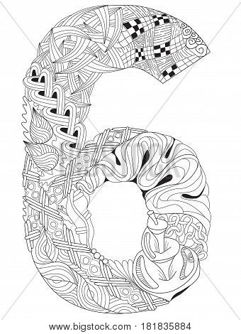 Hand-painted art design. Adult anti-stress coloring page. Black and white hand drawn illustration for coloring book. Number six zentangle object.