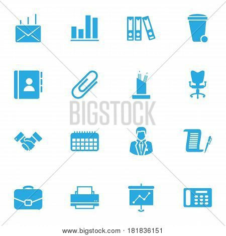 Set Of 16 Bureau Icons Set.Collection Of Telephone, Printer, Manager And Other Elements.