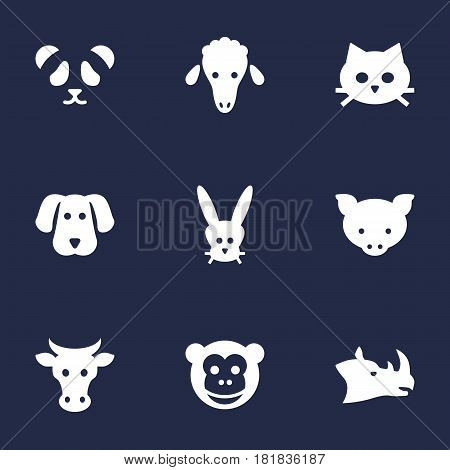 Set Of 9 Alive Icons Set.Collection Of Kine, Hound, Bunny And Other Elements.