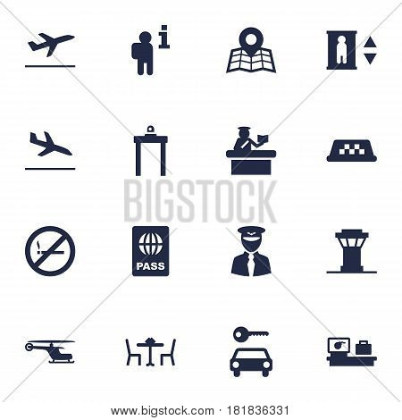 Set Of 16 Aircraft Icons Set.Collection Of Lift, Rectifier, Passport And Other Elements.