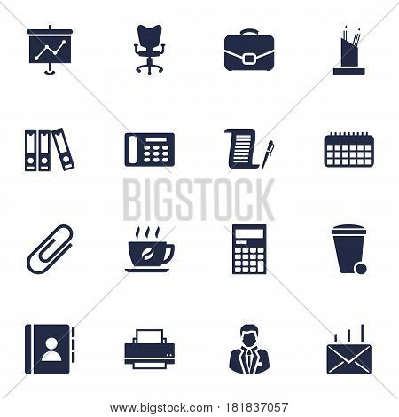 Set Of 16 Bureau Icons Set.Collection Of Trash Can, Diplomat, Calculator And Other Elements.