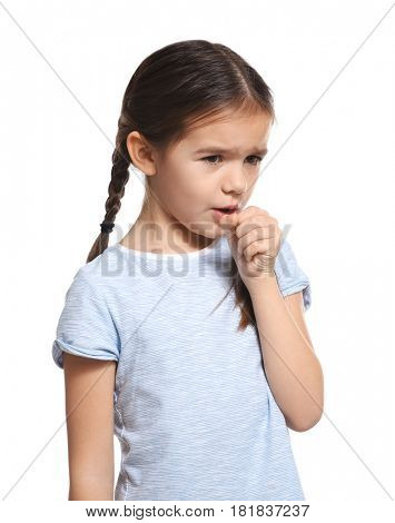 Cute little girl with allergy on white background