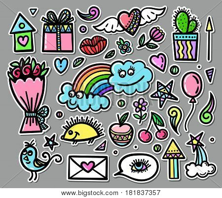 Vector set of hand drawn objects, doodle elements. Funny baby pictures. Contemporary illustration for design EPS 10