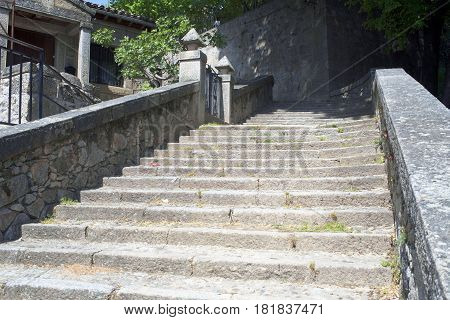 Stone stairs leading to the church of Piedralaves, Avila, Spain