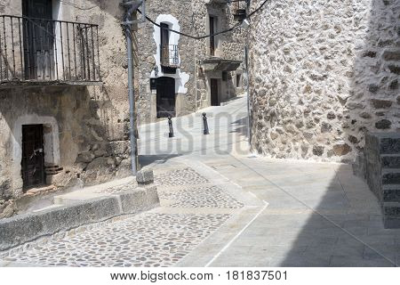 Street of the village of Piedralaves, in Avila. Spain