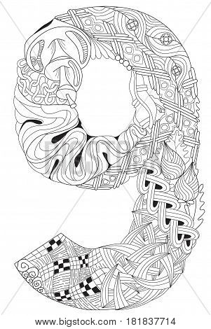 Hand-painted art design. Adult anti-stress coloring page. Black and white hand drawn illustration for coloring book. Number nine zentangle object.